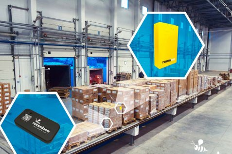 Warehouse photo with images of the smart logistics devices.